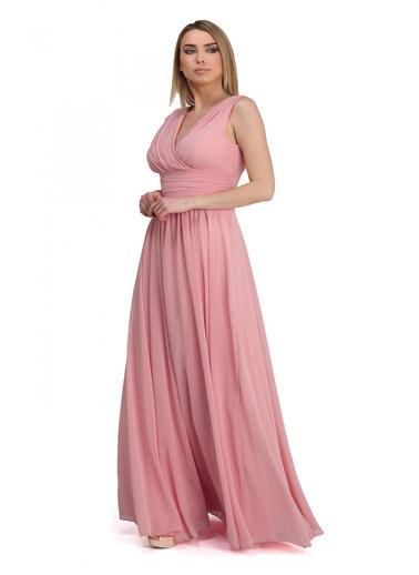 Pierre Cardin Şifon V Yaka Uzun Abiye Elbise Pudra